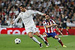 Real Madrid's Cristiano Ronaldo (L) and Atletico del Madrid´s Jesus Gamez during quarterfinal second leg Champions League soccer match at Santiago Bernabeu stadium in Madrid, Spain. April 22, 2015. (ALTERPHOTOS/Victor Blanco)