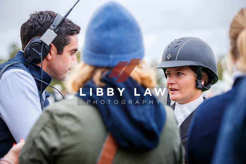 USA-Hannah-Sue Burnett speaks with the press after her ride on Harbour Pilot during the second day of Dressage. Interim-=5th. 2019 GBR-Land Rover Burghley Horse Trials. Friday 6 September. Copyright Photo: Libby Law Photography