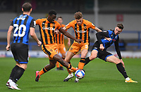Hull City's Josh Emmanuel and Reece Burke battle with the Rochdale defence<br /> <br /> Photographer Dave Howarth/CameraSport<br /> <br /> The EFL Sky Bet League One - Rochdale v Hull City - Saturday 17th October 2020 - Spotland Stadium - Rochdale<br /> <br /> World Copyright © 2020 CameraSport. All rights reserved. 43 Linden Ave. Countesthorpe. Leicester. England. LE8 5PG - Tel: +44 (0) 116 277 4147 - admin@camerasport.com - www.camerasport.com