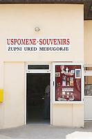 A pilgrim's souvenir shop Medugorje pilgrimage village, near Mostar. Medjugorje. Federation Bosne i Hercegovine. Bosnia Herzegovina, Europe.