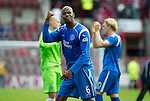 Hearts v St Johnstone...14.08.10  .Michael Duberry applauds the fans at full time.Picture by Graeme Hart..Copyright Perthshire Picture Agency.Tel: 01738 623350  Mobile: 07990 594431