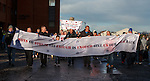 Rangers fans protesting before the match