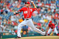 25 September 2011: Washington Nationals pitcher Ross Detwiler on the mound against the Atlanta Braves at Nationals Park in Washington, DC. The Nationals shut out the Braves 3-0 to take the rubber match third game of their 3-game series - the Nationals' final home game for the 2011 season. Mandatory Credit: Ed Wolfstein Photo