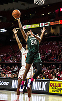 COLLEGE PARK, MD - FEBRUARY 03: Nia Clouden #24 of Michigan State shoots past Kaila Charles #5 of Maryland during a game between Michigan State and Maryland at Xfinity Center on February 03, 2020 in College Park, Maryland.