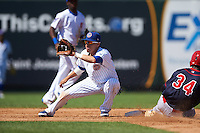 South Bend Cubs second baseman Carlos Sepulveda (2) waits for a throw as Magneuris Sierra (34) slides in during the second game of a doubleheader against the Peoria Chiefs on July 25, 2016 at Four Winds Field in South Bend, Indiana.  South Bend defeated Peoria 9-2.  (Mike Janes/Four Seam Images)