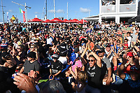 17th March 2021; Waitemata Harbour, Auckland, New Zealand;  Fans at the America's Cup village, Auckland viaduct. Day 7 of the America's Cup presented by Prada. Auckland, New Zealand, Wednesday the 17th of March 2021.