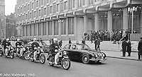Motorcade waiting to collect US President Richard M Nixon at the US Embassy in Grosvenor Square, London.  27th February 1969.