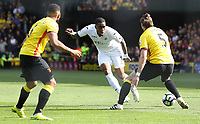 Leroy Fer of Swansea City is challenged by Sebastian Prodl of Watford during the Premier League match between Watford and Swansea City at Vicarage Road Stadium, Watford, England, UK. Saturday 15 April 2017