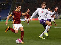 Calcio, Serie A: Roma vs Fiorentina. Roma, stadio Olimpico, 4 marzo 2016.<br /> Roma's Diego Perotti, left, is challenged by Fiorentina's Marcos Alonso during the Italian Serie A football match between Roma and Fiorentina at Rome's Olympic stadium, 4 March 2016.<br /> UPDATE IMAGES PRESS/Riccardo De Luca