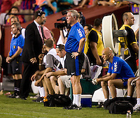 Manchester United head coach Sir Alex Ferguson walks the sideline during the friendly at FedEX Field in Landover, MD.  Manchester United defeated FC Barcelona, 2-1.