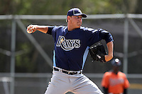 Tampa Bay Rays David Kubiak #86 during a spring training game against the Baltimore Orioles at the Buck O'Neil Complex on March 21, 2012 in Sarasota, Florida.  (Mike Janes/Four Seam Images)