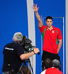Wales' Calum Jarvis steps up on the podium after winning a bronze medal in the men's 200m freestyle final<br /> <br /> Photographer Chris Vaughan/Sportingwales<br /> <br /> 20th Commonwealth Games - Day 2 - Friday 25th July 2014 - Swimming - Tollcross International Swimming Centre - Glasgow - UK