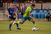 SAN JOSE, CA - MAY 12: Danny Leyva  #75 of the Seattle Sounders controls the ball during a game between San Jose Earthquakes and Seattle Sounders FC at PayPal Park on May 12, 2021 in San Jose, California.