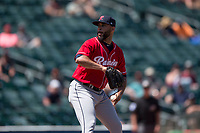 Tacoma Rainiers relief pitcher Dario Alvarez (44) delivers a pitch during a Pacific Coast League game against the Sacramento RiverCats at Raley Field on May 15, 2018 in Sacramento, California. Tacoma defeated Sacramento 8-5. (Zachary Lucy/Four Seam Images)