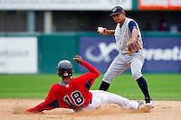 Shortstop Eduardo Escobar #3 of the Charlotte Knights can't turn the double play as Tony Thomas #18 of the Pawtucket Red Sox slides into second base at McCoy Stadium on June 12, 2011 in Pawtucket, Rhode Island.  The Red Sox defeated the Knights 2-1.    Photo by Brian Westerholt / Four Seam Images
