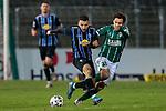 13.01.2021, xtgx, Fussball 3. Liga, VfB Luebeck - SV Waldhof Mannheim emspor, v.l. Arianit Ferati (Mannheim, 10) , Mirko Boland (Luebeck, 31) Zweikampf, Duell, Kampf, tackle <br /> <br /> (DFL/DFB REGULATIONS PROHIBIT ANY USE OF PHOTOGRAPHS as IMAGE SEQUENCES and/or QUASI-VIDEO)<br /> <br /> Foto © PIX-Sportfotos *** Foto ist honorarpflichtig! *** Auf Anfrage in hoeherer Qualitaet/Aufloesung. Belegexemplar erbeten. Veroeffentlichung ausschliesslich fuer journalistisch-publizistische Zwecke. For editorial use only.