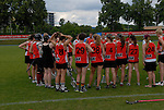 BERLIN, GERMANY - JUNE 22: Placementgame for 9th-12th between Swedish LAX Mafia (black) vs BLAX (red) during the Berlin Open Lacrosse Tournament 2013 at Stadion Lichterfelde on June 22, 2013 in Berlin, Germany. Final score 6-3. (Photo by Dirk Markgraf/www.265-images.com)