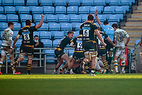 6th February 2021; Ricoh Arena, Coventry, West Midlands, England; English Premiership Rugby, Wasps versus Northampton Saints; Rob Miller of Wasps scores the first try for Wasps and with the conversion the score is 7-22 in the 43rd minute