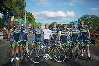 A very happy Team Orica-BikeExchange after finishing a very successful Tour with 1 stage win by Michael 'Bling' Matthews (AUS/Orica-BikeExchange) and a 4th place overall + white jersey for Adam Yates (GBR/Orica-BikeExchange)<br /> <br /> Final stage 21 - Chantilly › Paris (113km)<br /> 103rd Tour de France 2016