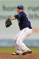 Asheville Tourists starting pitcher Matt Flemer #18 delivers a pitch during a game against the Rome Braves  at McCormick Field on June 6, 2013 in Asheville, North Carolina. The Tourists won the game 17-7. (Tony Farlow/Four Seam Images)