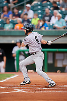 Jackson Generals second baseman Kevin Medrano (6) follows through on a swing during a game against the Chattanooga Lookouts on May 9, 2018 at AT&T Field in Chattanooga, Tennessee.  Chattanooga defeated Jackson 4-2.  (Mike Janes/Four Seam Images)