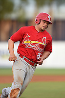 Palm Beach Cardinals first baseman Luke Voit (25) rounds third during a game against the Lakeland Flying Tigers on April 13, 2015 at Joker Marchant Stadium in Lakeland, Florida.  Palm Beach defeated Lakeland 4-0.  (Mike Janes/Four Seam Images)