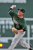 Starting pitcher Matt Solter (32) of the Augusta GreenJackets delivers a pitch in a game against the Greenville Drive on Friday, June 10, 2016, at Fluor Field at the West End in Greenville, South Carolina. Greenville won, 5-4. (Tom Priddy/Four Seam Images)