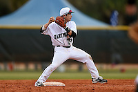 Dartmouth Big Green second baseman Justin Fowler (25) during a game against the Ball State Cardinals on March 7, 2015 at North Charlotte Regional Park in Port Charlotte, Florida.  Ball State defeated Dartmouth 7-4.  (Mike Janes/Four Seam Images)