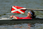 The coxswain for Catholic University commands her team down river during the 68th Dad Vail Regatta on the Schuylkill River in Philadelphia, Pennsylvania on May 12, 2006........