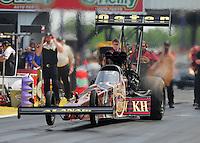 May 1, 2011; Baytown, TX, USA: NHRA top fuel dragster driver Del Worsham during the Spring Nationals at Royal Purple Raceway. Mandatory Credit: Mark J. Rebilas-