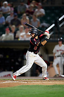 Rochester Red Wings second baseman Alex Perez (8) at bat during a game against the Lehigh Valley IronPigs on September 1, 2018 at Frontier Field in Rochester, New York.  Lehigh Valley defeated Rochester 2-1.  (Mike Janes/Four Seam Images)