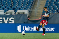 FOXBOROUGH, UNITED STATES - AUGUST 21: Collin Verfurth #35 of New England Revolution II passes the ball during a game between Richmond Kickers and New England Revolution II at Gillette Stadium on August 21, 2020 in Foxborough, Massachusetts.