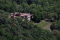 aerial photograph of a mountainside residence, Napa County, California