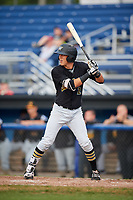West Virginia Black Bears second baseman Tristan Gray (2) at bat during a game against the Batavia Muckdogs on August 7, 2017 at Dwyer Stadium in Batavia, New York.  West Virginia defeated Batavia 6-3.  (Mike Janes/Four Seam Images)