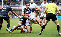11 January 2020; Jacob Stockdale of Ulster is tackled by Alexandre Lapandry during the Heineken Champions Cup Pool 3 Round 5 match between ASM Clermont Auvergne and Ulster at Stade Marcel-Michelin in Clermont-Ferrand, France. Photo by John Dickson/DICKSONDIGITAL