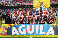 BARRANQUIILLA - COLOMBIA, 28-10-2018: Jugadores del Junior posan para una foto previo al partido entre Atlético Junior y América de Cali por la fecha 17 de la Liga Águila II 2018 jugado en el estadio Romelio Martínez de la ciudad de Barranquilla. / Players of Junior pose to a photo prior the match between Atletico Junior and America de Cali for the date 17 of the Aguila League II 2018 played at Romelio Martinez stadium in Barranquilla city.  Photo: VizzorImage/ Alfonso Cervantes / Cont