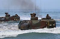 - landing exercise of S.Marco battalion  infantrymen on Civitavecchia beach with amphibious armored vehicles LVTP ....- esercitazione di sbarco dei fanti di marina del battaglione S.Marco sulla spiaggia di Civitavecchia con veicoli blindati anfibi LVTP