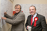 © Joel Goodman - 07973 332324 . . 07/02/2014 .  Manchester , UK . David Neilson , who plays Roy Cropper in Coronation Street , meets Labour candidate Mike Kane on the campaign trail at the Labour Party's campaign HQ in Northern Moor , ahead of the Wythenshawe and Sale East by-election . Photo credit : Joel Goodman