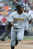 Trenton Thunder outfielder Zolio Almonte #47 at bat during a game against the Richmond Flying Squirrels at The Diamond on May 27, 2012 in Richmond, Virginia. Richmond defeated Trenton by the score of 5-2. (Robert Gurganus/Four Seam Images)
