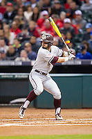 Texas A&M Aggies outfielder Nick Banks (4) at bat during the NCAA baseball game against the Houston Cougars on March 7, 2015 in the Houston College Classic at Minute Maid Park in Houston, Texas. Texas A&M defeated Houston 6-0. (Andrew Woolley/Four Seam Images)