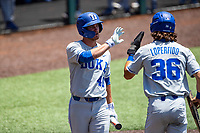 Duke Blue Devils left fielder RJ Schreck (40) celebrates a run against the Wright State Raiders in NCAA Regional play on Robert M. Lindsay Field at Lindsey Nelson Stadium on June 5, 2021, in Knoxville, Tennessee. (Danny Parker/Four Seam Images)