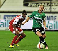 Cercle Brugge KSV - KV Kortrijk : Hans Cornelis (met bloedneus ) aan de bal voor Steeven Joseph Monrose.foto VDB / BART VANDENBROUCKE