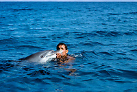 Bedouin interacting with wild Bottlenose Dolphin, Tursiops truncatus, above water, Nuweiba, Egypt, Red Sea., Northern Africa