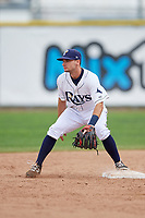 Princeton Rays second baseman Connor Hollis (39) during the first game of a doubleheader against the Greeneville Reds on July 25, 2018 at Hunnicutt Field in Princeton, West Virginia.  Princeton defeated Greeneville 6-4.  (Mike Janes/Four Seam Images)