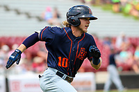 Bowling Green Hot Rods shortstop Taylor Walls (10) runs to first base during a Midwest League game against the Wisconsin Timber Rattlers on July 23, 2018 at Fox Cities Stadium in Appleton, Wisconsin. Wisconsin defeated Bowling Green 5-3. (Brad Krause/Four Seam Images)