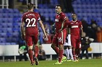 Angel Rangel of Swansea City talks with Martin Olsson of Swansea City after the final whistle of the Carabao Cup Third Round match between Reading and Swansea City at Madejski Stadium, Reading, England, UK. Tuesday 19 September 2017