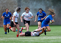 24 August 2019;  Rachel Conroy is tackled by Kim Johnston during the Under 18 Girls Interprovincial Rugby Championship match between Ulster and Leinster at Armagh RFC in Armagh. Photo by John Dickson/DICKSONDIGITAL