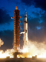 Liftoff of Apollo IV: 7AM EST, 09 November 1967 at Pad A, Launch Complex 39, Kennedy Space Center, Florida, USA