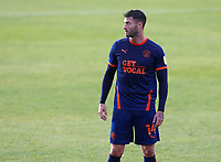 Blackpool's Gary Madine wears the all new 'Get Local' sponsored third kit<br /> <br /> Photographer Rich Linley/CameraSport<br /> <br /> The EFL Sky Bet League One - Crewe Alexandra v Blackpool - Saturday 17th October 2020 - Gresty Road - Crewe<br /> <br /> World Copyright © 2020 CameraSport. All rights reserved. 43 Linden Ave. Countesthorpe. Leicester. England. LE8 5PG - Tel: +44 (0) 116 277 4147 - admin@camerasport.com - www.camerasport.com