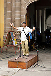 Nicaraguan man reading poetry during the 5th International Poetry Festival, 2009, Granada